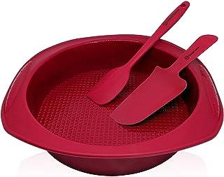 Backhaus Molde Redondo para Tartas, Juego de Repostería de Silicona Platino Antiadherente con Espátula y Cuchillo de Pastel, Libres de BPA | Rojo