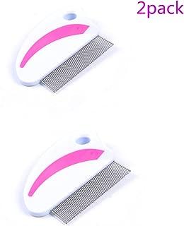 YALAN Flea Comb, Lice Comb, Cat Flea Comb - 62 Teeth Metal Grooming Brush,2 Pack (Red)