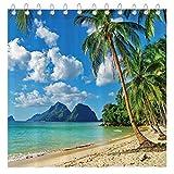 Funnytree Summer Tropical Beach Shower Curtain Set with Hooks Seaside Island Palm Trees Blue Sea Luau Bath House Bathroom Bathtubs Decor Easy Care Waterproof Washable Durable Polyester Fabric 72'x72'
