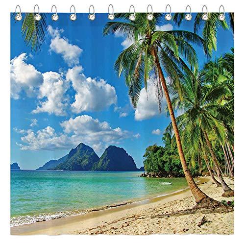 "Funnytree Summer Tropical Beach Shower Curtain Set with Hooks Seaside Island Palm Trees Blue Sea Luau Bath House Bathroom Bathtubs Decor Easy Care Waterproof Washable Durable Polyester Fabric 72""x72"""