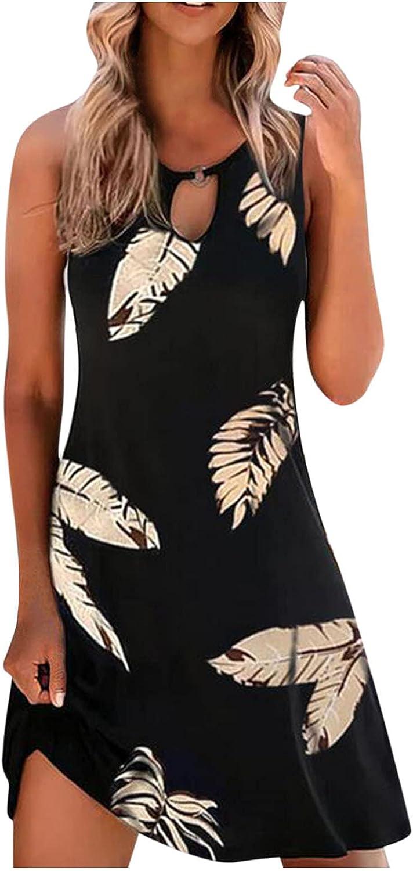 Casual Dresses for Women, Womens Fashion Print Sleeveless Ruffle Summer Boho Beach A-Line Mini Dress Sundress