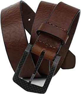 The Stealth Brown Belt - Nickel Smart - Full Grain Leather Belt with Nickel Free Carbon Fiber Beep Free Buckle