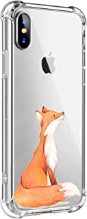 Oihxse Compatible with iPhone XS Max Case Slim Fit Crystal Clear Transparent with Cute Cartoon Design Back Cover, Soft Silicone [Air Cushion] Drop Proof Shockproof TPU Bumper Skin-Fox