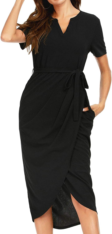 CRETUAO Women's Casual V Neck Short Sleeve Elegant Dress Stretchy Office Midi Dress with Pockets(Black Large)