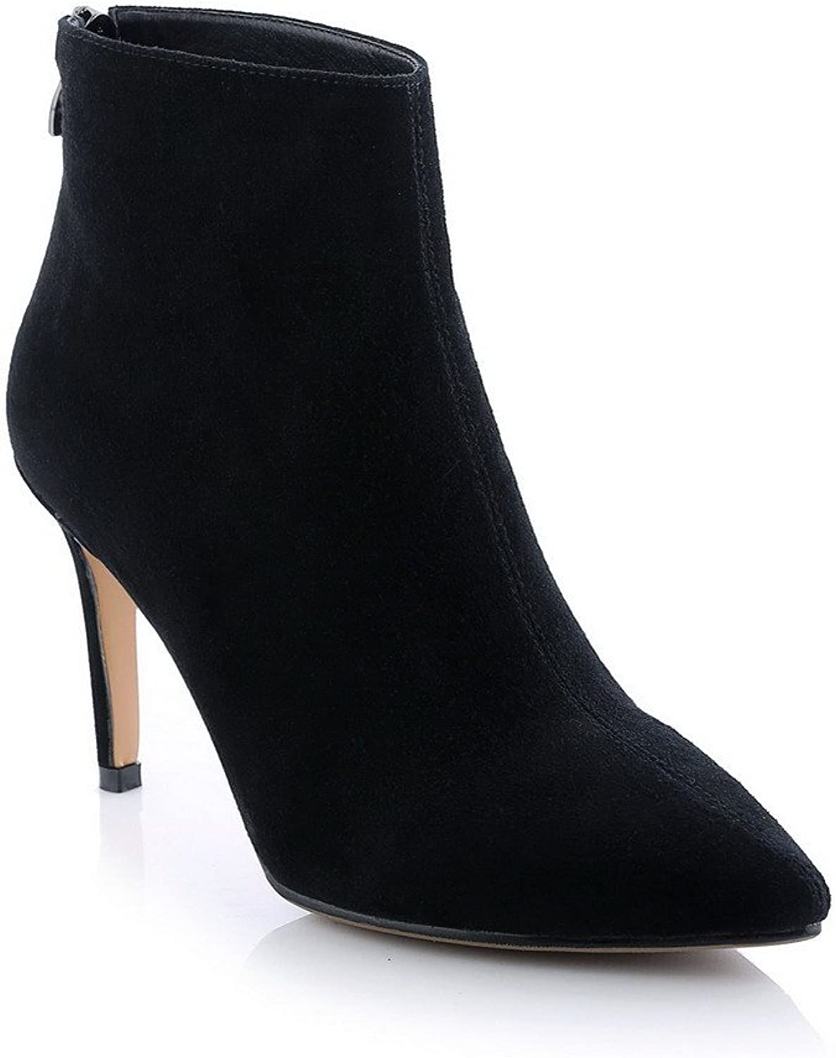 AmoonyFashion Womens Pointed Toe Closed-Toe High-Heels Boots with Slipping Sole and Stiletto shoes