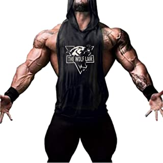 Cabeen Men's Workout Hooded Tank Tops Gym Muscle Hoodies Sleeveless Shirts with Pocket