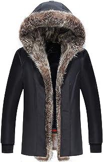 Mens Heavy Weight Faux Fur Cappuccio Parka Spesso Imbottito Inverno Cappotto Caldo del Rivestimento Cotone Fodera