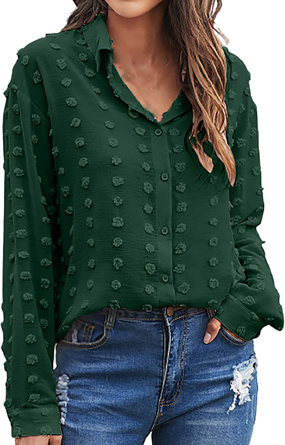 Olivcker Long Sleeve Shirts for Women Button Lapel V-Neck Tops Solid Color Autumn Female Fashion Blouses Casual Comfy Blouses