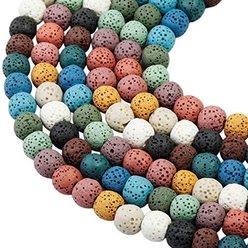 mookaitedecor Multicolore Perle Pierre Lave 8mm,Rondes Perles en Vrac Pierres pour Bracelet Aromathérapie Collier Fabrication de Bijoux DIY