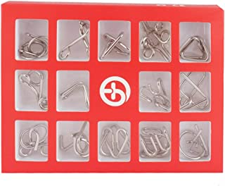 Ahyuan 9 Pieces IQ Test Mind Game Toys IQ Toys Brain Teaser Metal Wire Puzzles Magic Trick Toy Metal IQ Puzzle for Students and Adults Higher Level