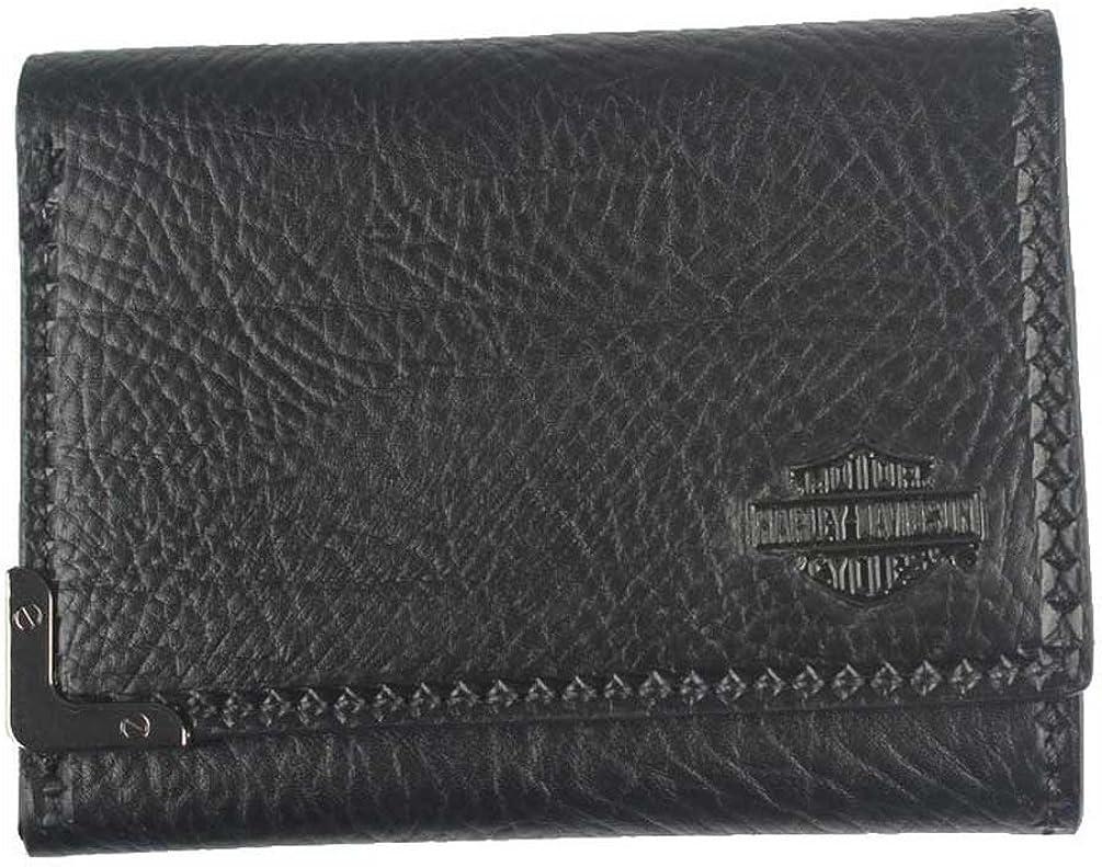 Harley-Davidson Men's Gunmetal Bar & Shield Leather Tri-Fold Wallet GM6549L-BLK