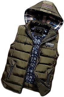 メンズスタイリッシュなレジャーパッドベストベストウォーベスト軽量スタンドキルティングコート (色 : Green, サイズ さいず : M)