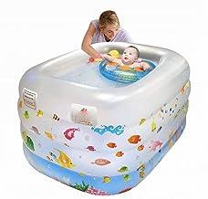 GDD Piscinas hinchables Piscinas para niños Bebé de la bañera Inflable Infantil Antideslizante Piscina Plegable del Recorrido de Aire Ducha Cilindro Grande 140 * 105 * 70cm