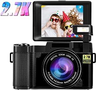 Cámara Digital Camara de Fotosa 2.7K 24MP Camara Compacta Full HD para Youtube Camara Fotos con Pantalla giratoria de rotación de 180 Grados de 3.0 Pulgadas con luz de Flash retráctil