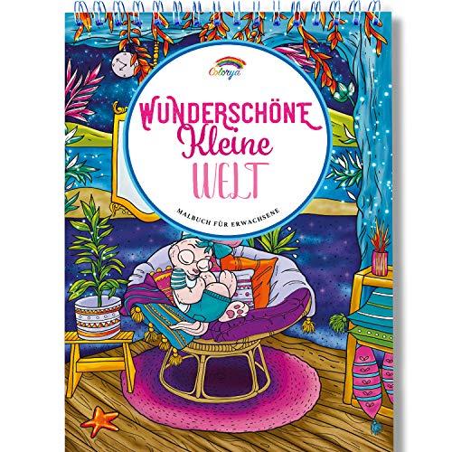 Malbuch für Erwachsene mit Anti-Stress-Wirkung von Colorya - Wunderschöne Kleine Welt - Ausmalbuch für Erwachsene mit Spiralbindung auf A4 Künstlerpapier, Malbücher für Erwachsene ohne Durchdrücken