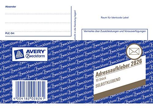 Avery Zweckform 2826 adressticker-boekje (A6 dwars, zelfklevend, 10 stickers) wit