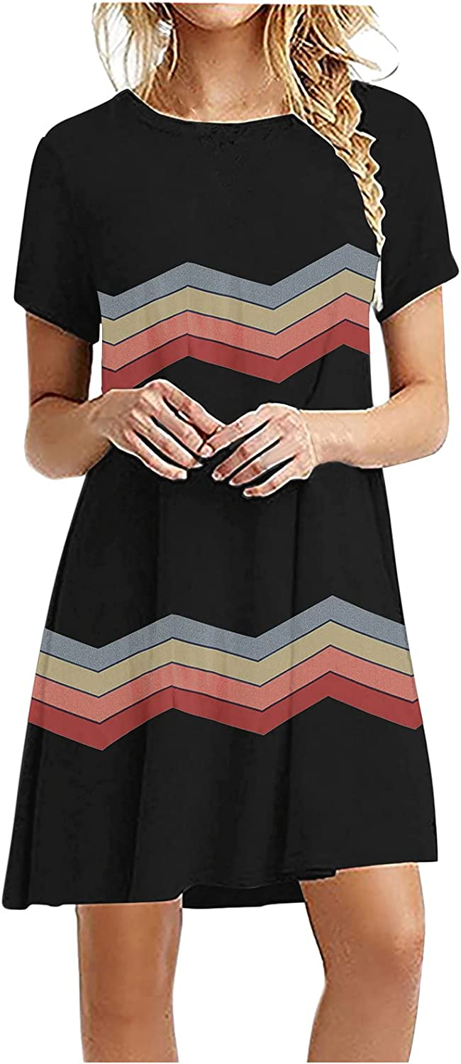 Dresses for Women Casual, Fashion Women Casual Printing Short Sleeve Solid Ladies O-Neck Loose Mini Dress