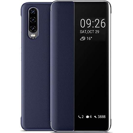 Oihxse Coque pour Huawei P30 Smart View avec fonction support et fermeture magn/étique portefeuille en silicone transparent /étui en cuir original violet