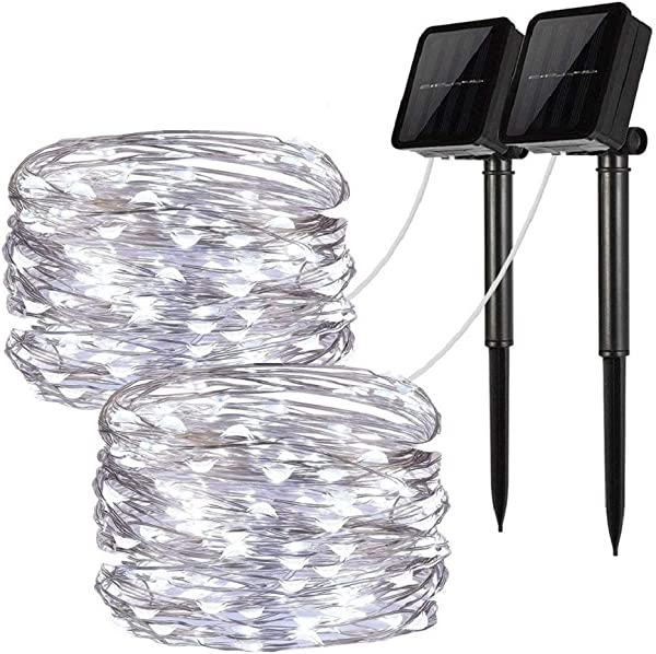 Solar String Lights 2 Pack 100 LED Solar Fairy Lights 33 Feet 8 Modes Copper Wire Lights Waterproof Outdoor String Lights For Garden Patio Gate Yard Party Wedding Indoor Bedroom Cool White LiyanQ