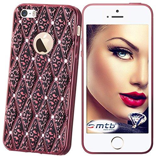 mtb More Energy Funda Glamour para Apple iPhone SE / 5S / 5 - Rosa Oscuro metálico - Joya Gema TPU Gel Silicona Carcasa Cascara