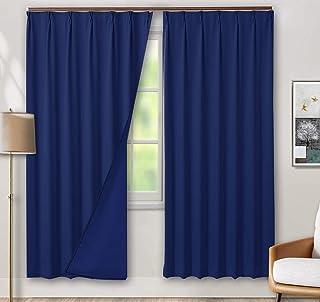 tkone 遮光カーテン 1級 カーテン ドレープカーテン 100×178cm 2枚 ブルー 遮光 断熱 防寒 防音 目隠し