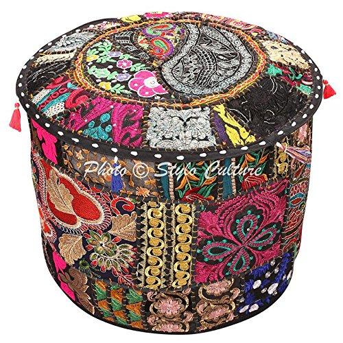 Stylo Culture Pouf Sitzbank Kinder Vintage Hocker Ottoman Cover Große Schwarz Indische Gestickte Patchwork Baumwolle Traditionelle Runde Hocker Ottoman Cover (22x22x13 Zoll) 55 cm