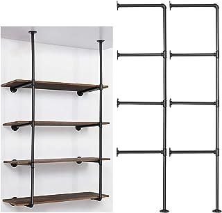 LIANTRAL Industrial Wall Mount Iron Pipe Shelf, DIY Open Bookshelf, Retro Storage Shelves Pipe Shelving Hung Bracket (4 Ti...