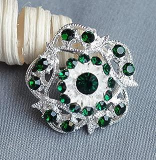 5 Large Rhinestone Button Embellishment Dark Emerald Green Crystal Wedding Brooch Bouquet Invitation Cake Decoration BT358