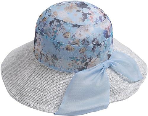 Chapeau Femelle Printemps et été Soleil visière de Paille Soie Plage Plage de Soleil ZHAOSHUNLI (Couleur   lumière bleu)