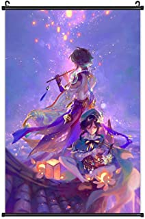 Genshin Impact Poster Game Characters Xiao and Venti Scroll Painting Bedroom Modern Family Decor Canvas Wall Art Picture P...