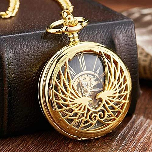 LOOIUEX Reloj de Bolsillo Reloj de Bolsillo mecánico con diseño de Lovebird Dorado Vintage con Cadena Love Wing Skeleton Hand Wind Reloj de Bolsillo mecánico, Dorado