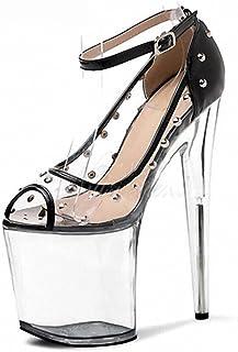 YXX Chaussure Mode Sandale Escarpin Ouverte Haut Talon Mariage Cérémonie Femme Simple Basique Classique Boucle Talon Haut ...