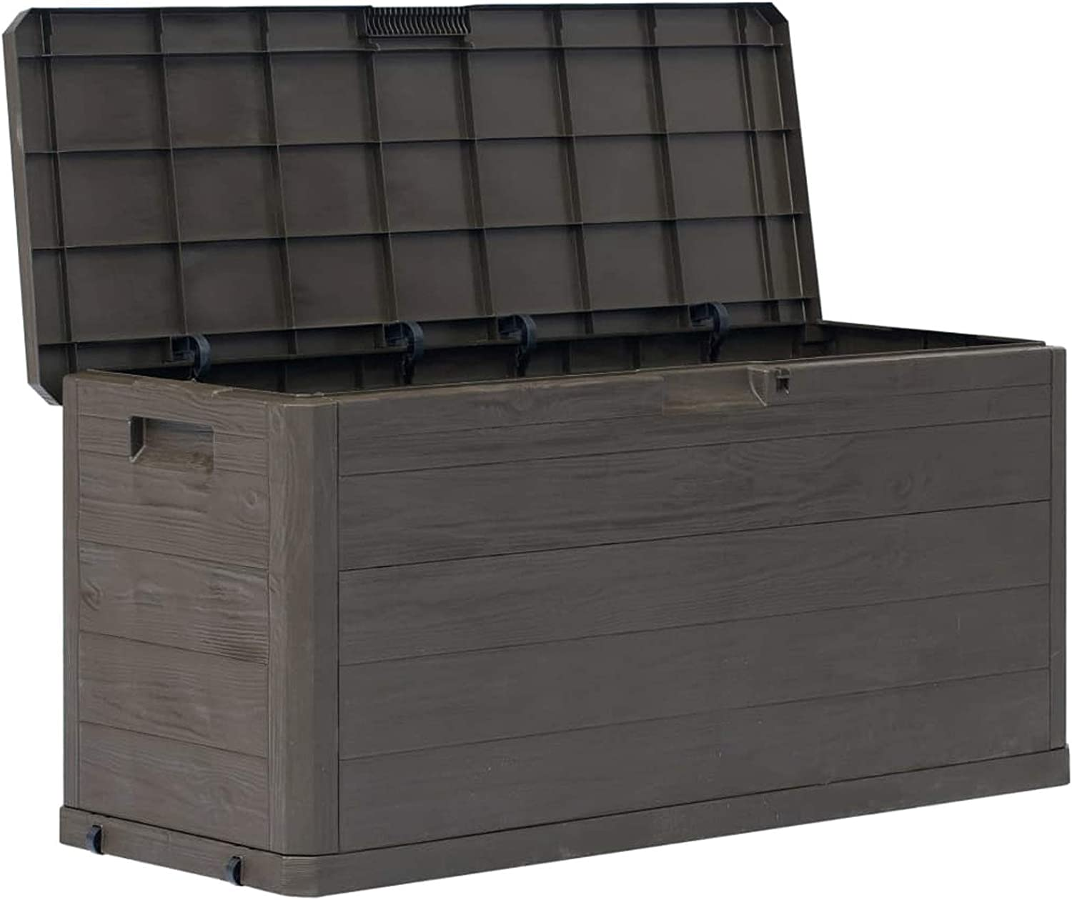 Tidyard Garden Storage Deck Box Plastic 74 Gal Lockable Garden Container Cabinet Toolbox for Patio Lawn Backyard Outdoor Furniture 46.1 x 17.7 x 22 Inches W x D x H Poolside