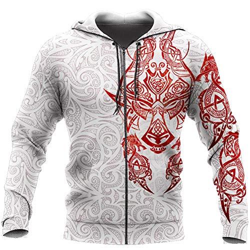 WDBAYXH Men Women Viking Fenrir Wolf Hoodie Sweatshirt, Norse Tattoo 3D Print Full Zip Pullover, Spring Vintage Punk Long Sleeve Casual Loose Jacket, Celtic Pagan Personality Streetwear,Zip,5XL