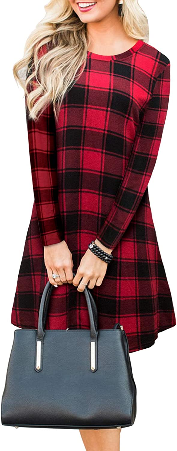 Blooming Jelly Women's Plaid Swing Round Neck Washington Mall Sleeve Beauty products Dress Long