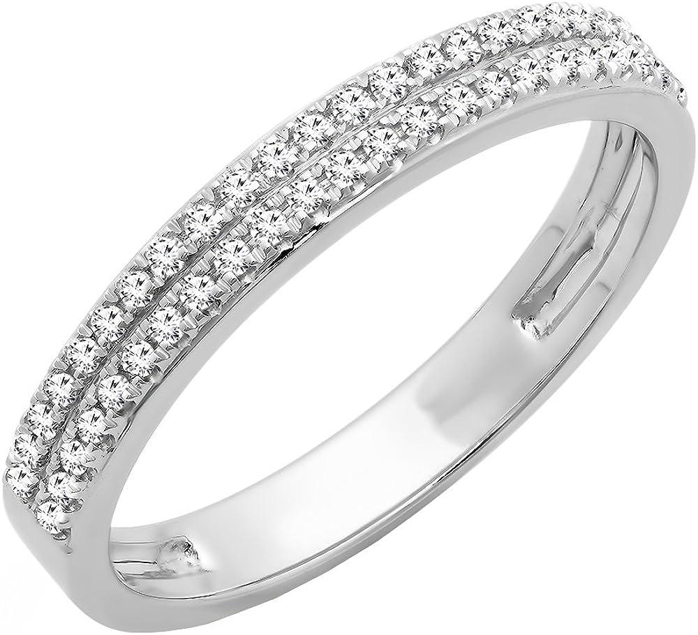 Dazzlingrock Collection 0.20 Carat (ctw) 10K Gold Round White Diamond Ladies Double Row Wedding Band 1/5 CT
