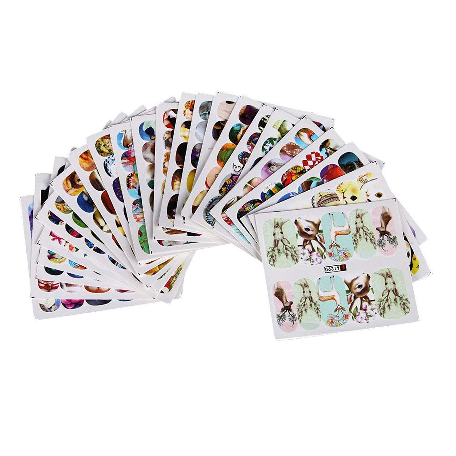 Healify ネイルシール ネイルステッカー 花 动物 可愛いネイル飾り 24枚セット