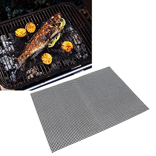 HAOX BBQ Grill Mesh Matten, Wiederverwendbare multifunktionale BBQ Grillmatten Lebensmittelqualität für Pelletgrill für Gasgrill für Holzkohlegrill(黑色33*40cm-Black 33 * 40cm)