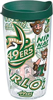 Tervis 1271453 Charlotte 49ers All Over Tumbler with Wrap and Hunter Green Lid 16oz, Clear