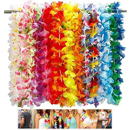 36 Piezas Guirnaldas Flores Hawaianas,Hawaiian Guirnalda,Collares Hawaianos Fiesta,Decoración para Fiesta Hawaiana,Hawaiian Lei Flor Guirnalda,para Fiesta Hawaiana