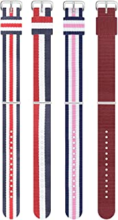 10mm Multiple colors nylon watch Strap Light and soft canvas watch band with pin buckle strap (4 Packs )