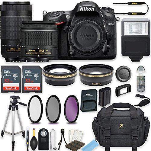 Nikon D7200 24.2 MP DSLR Camera (Black) w/AF-P DX NIKKOR 18-55mm f/3.5-5.6G VR Lens & AF-P DX NIKKOR 70-300mm f/4.5-6.3G ED Lens Bundle includes 64GB Memory + Filters + Deluxe Bag + Accessories
