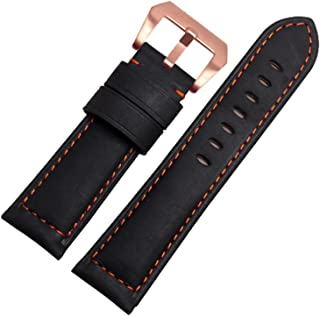 22 mm Negro Mate Piel Italiana Correa de Reloj Banda Hebilla de Oro Rosa de Punto de Color Naranja
