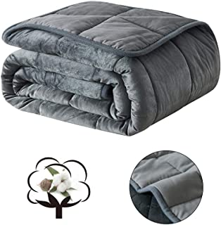 """COSYBAY Breathable Weighted Blanket-Dark Grey Heavy Blanket for Adult-100% Cotton Top and Plush Bottom with Glass Beads (25lbs-80×90"""")"""