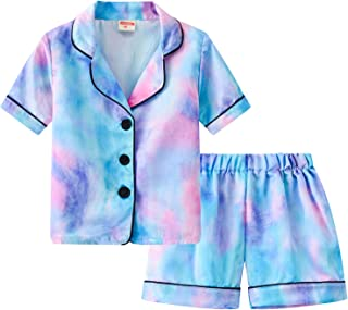 iiniim Kids Boys Girls Summer Tie Dye Pajamas Set Lapel Collar Short Sleeves Shirt Top with Shorts Set PJS Loungewear