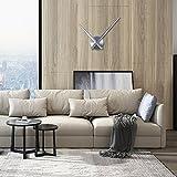 URAQT Reloj de Pared 3D, Reloj de Pared Silencioso DIY, Moderno Reloj de Etiqueta de Pared, Reloj de Pared Adhesivo Grande para Decoración Salon Dormitorio Hogar (Plata)