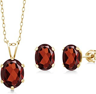 3.20 Ct Oval Red Garnet Gold Plated Silver Pendant Earrings Set