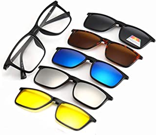 Polarized Sunglasses Magnetic Clip-On, Set Of 5 Lens with Storage Purse (3D Vision Lens, Anti Glare Night Vision Lens, Polarized Gray Lenses, Mirrored Blue Lenses, Mirrored Silver Lenses)