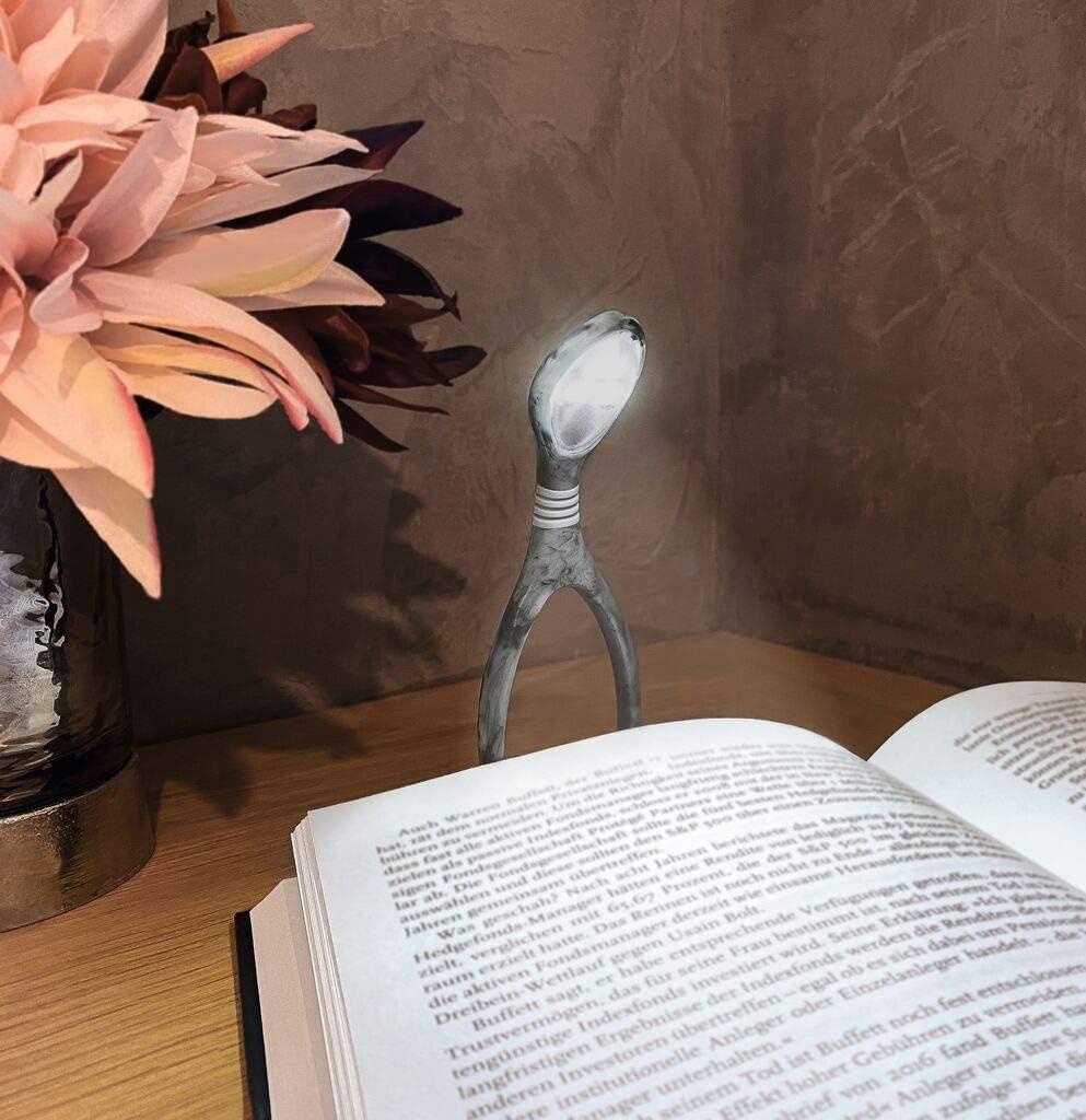 Klemmleuchte mit Dimmer zum Lesen im Dunkeln Leselicht in Marmor-Optik Moses libri/_x Leselicht Lumi Plus Marble Grey
