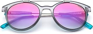 Saraghina Eyewear GERRY | Occhiali da Sole UOMO 100% Made in Italy | COLORE GRIGIO CRISTALLO | LENTE FLASH FUCSIA|